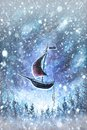 Winter snow background. Blurred snowflakes on Original oil painting - Christmas Royalty Free Stock Photo