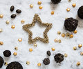 Winter snow background with golden stars and round natural textures Royalty Free Stock Photo