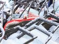 Winter snow. cars dismantled to pieces as a designer, many will receive a second life, some will go for recycling