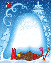 Winter snow christmas background with house little skiing and bird Stock Images