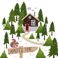 Winter snow covered forest and rural house with a chimney vector illustration about time wooden pointer squirrel on Stock Image