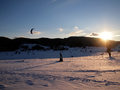 Winter snow kiting skies Stock Photo