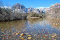 Winter and snow melt runoff in Red Rock Canyon near Las Vegas. Nevada. Royalty Free Stock Photo