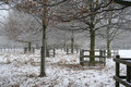 Winter snow scene in Nottinghamshire, UK. Royalty Free Stock Image