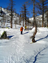 Winter snow trekking Stock Photography