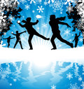 Winter snowball fight abstract illustration of a group of boys enjoying a in a downfall of snow Royalty Free Stock Images