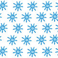 Winter snowflake seamless pattern on the white background