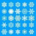 Winter white snowflakes card vector on blue background. Macro flying border illustration, holiday banner with flakes