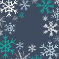 Winter snowflakes frame. Vector illustration of turquoise and white snowflakes on dark blue background Royalty Free Stock Photo
