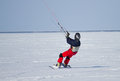 Winter snowkiting on the lake Royalty Free Stock Photos