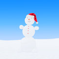 Winter snowman in santa hat on blue sky background Royalty Free Stock Photo