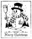 Winter snowman theme drawing 2 Royalty Free Stock Images