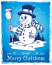 Winter snowman theme drawing 3 Royalty Free Stock Photos