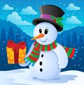 Winter snowman theme image 4 Stock Images