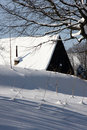 Winter snowy cabin Stock Photography