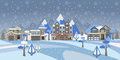 Winter Snowy Landscape with houses, trees and mountains. Suburban Buildings in Winter Landscape. Flat Vector Illustration. Detaile