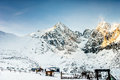 Winter, snowy landscape with mountains full of snow. Beautiful landscape in the mountains on a sunny day skiing Royalty Free Stock Photo