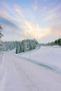 Winter snowy road Stock Photography
