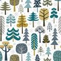 Winter snowy woods seamless pattern.