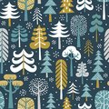 Winter snowy woods seamless vector pattern.