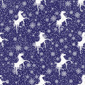Winter snoyflakes and horses seamless background vector white snowy silhouette of a pattern or snowflakes lie on Stock Photo