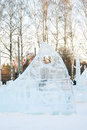 Winter in sokolniki park moscow russia ice sculpture festival ice scene taken on Stock Image