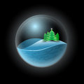 Winter sphere vector illustration of landscape Royalty Free Stock Image