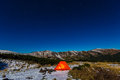 Winter Sport Hiking Bivouac in Mountain Landscape at Night Royalty Free Stock Photo