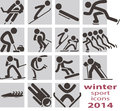 Winter sport icons set Stock Photos