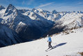 Winter sport skiing in snow mountain Stock Photos