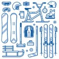 Winter Sports and Activities Equipment Icons Royalty Free Stock Photo