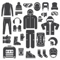 Winter Sports Clothes Outline Icons