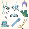 Winter sports equipment icons collection set of cartoon style Royalty Free Stock Photo