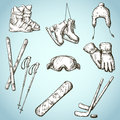 Winter sports equipment icons collection set of doodle style Royalty Free Stock Images