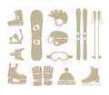 Winter sports equipment silhouettes collection Stock Image