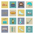 Winter sports flat icons set with shadows graphic illustration design Royalty Free Stock Photography