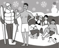 Winter sports health club cartoon illustration Royalty Free Stock Images