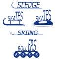 Winter sports holidays logo image skates skis sledges rollers Stock Photography