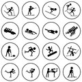 Winter sports icons set black and white Stock Photo