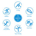 Winter sports icons set, 1 of 4, vector pictograms