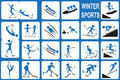 Winter sports image of blue icons with activities port on a white background Royalty Free Stock Image