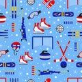 Winter sports seamless pattern. Seasonal outdoors background. Sporting equipment vector design. Cute childish repeat