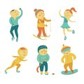 Winter sports set athletes in cartoon style Stock Photography