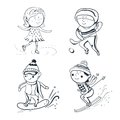 Winter sports vector sketch sportsmen ilustration black white Royalty Free Stock Photography