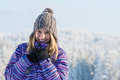 Winter sporty woman portrait snow mountains smiling at camera Stock Photos