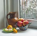 Winter still life red apples and tangerines on a window sill Stock Photography