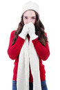 Winter stock image of teen shivering in clothing Royalty Free Stock Images