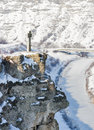 Winter stone cross on the mountain. Moldova. Royalty Free Stock Photo