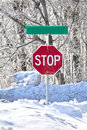 Winter Stop Sign Stock Photos