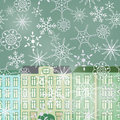Winter street city and snow fall Royalty Free Stock Photos